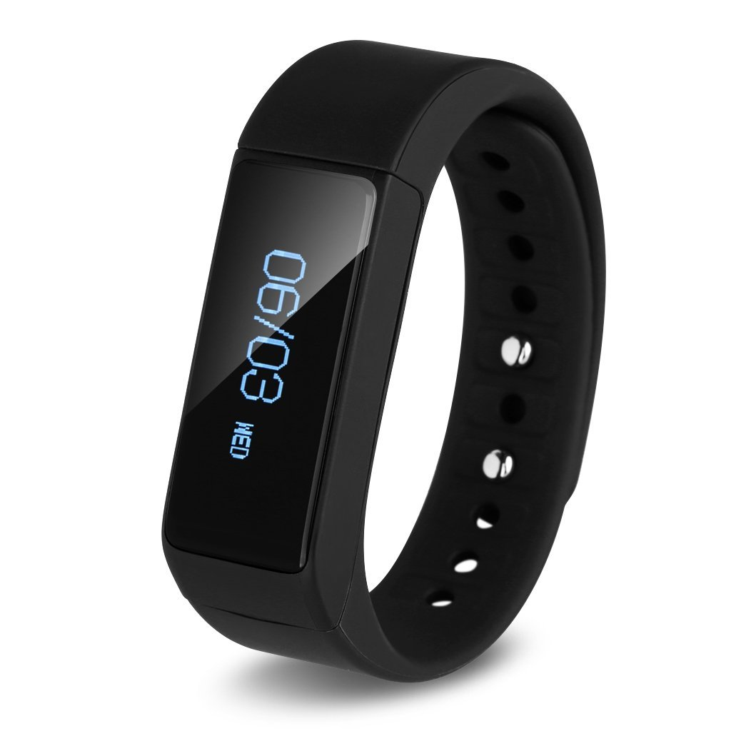 Excelvan All-in-1 IP65 Waterproof OLED Touch Screen Smart Bracelet Bluetooth 4.0 Pedometer Tracking Calorie Health Smart Wristband Sleep Monitor Call Reminder for Android IOS Smartphone (Black)