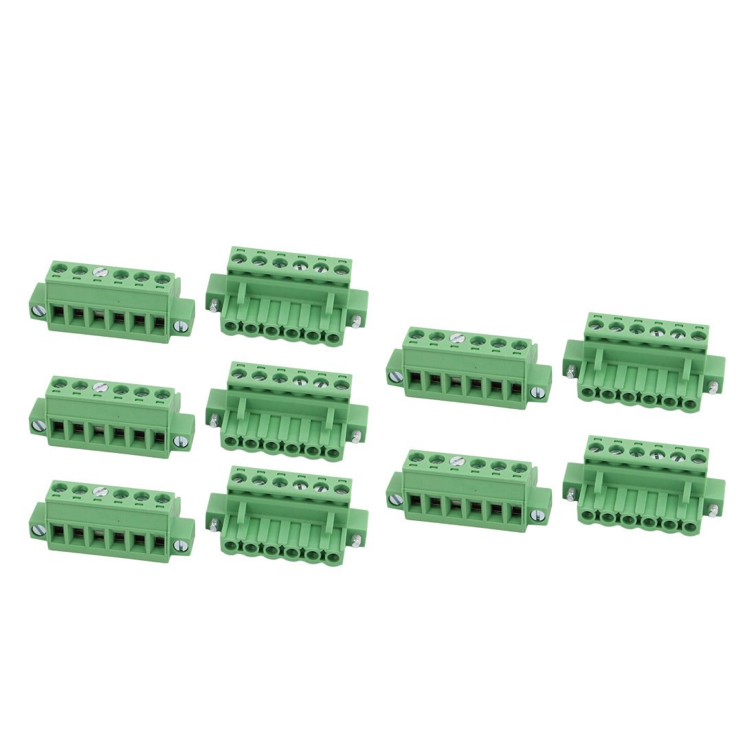 uxcell 10 Pcs LC1M AC300V 15A 5.0mm Pitch 6P PCB Mount Terminal Block Wire Connector