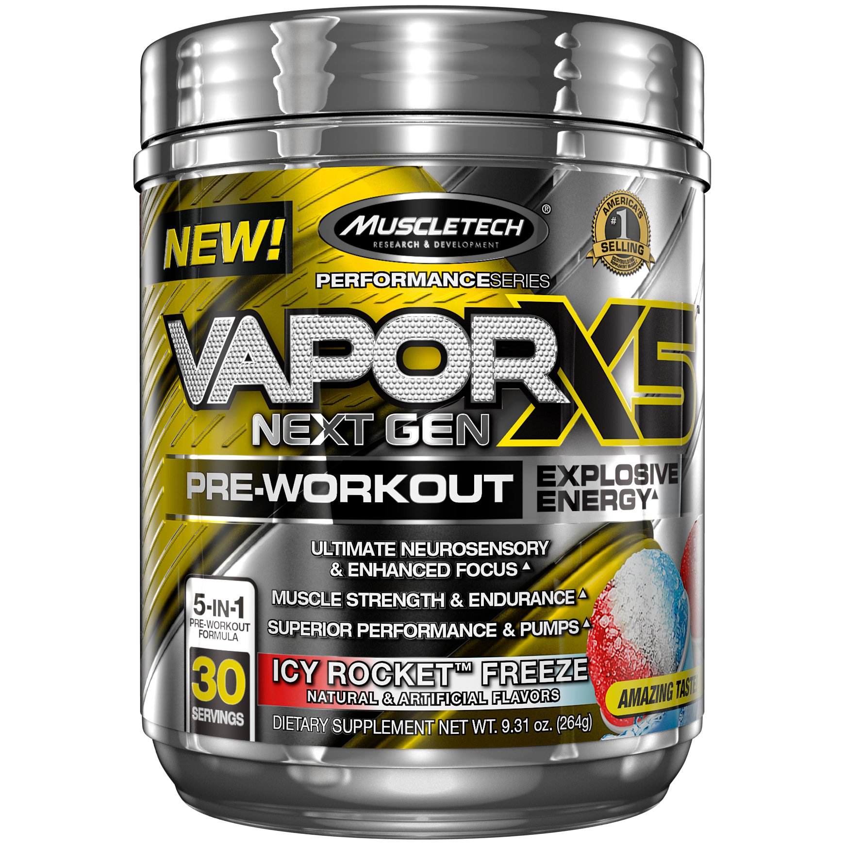 MuscleTech Performance Series Vapor X5, Next Gen Pre-Workout Powder, Icy Rocket Freeze, 30 Servings