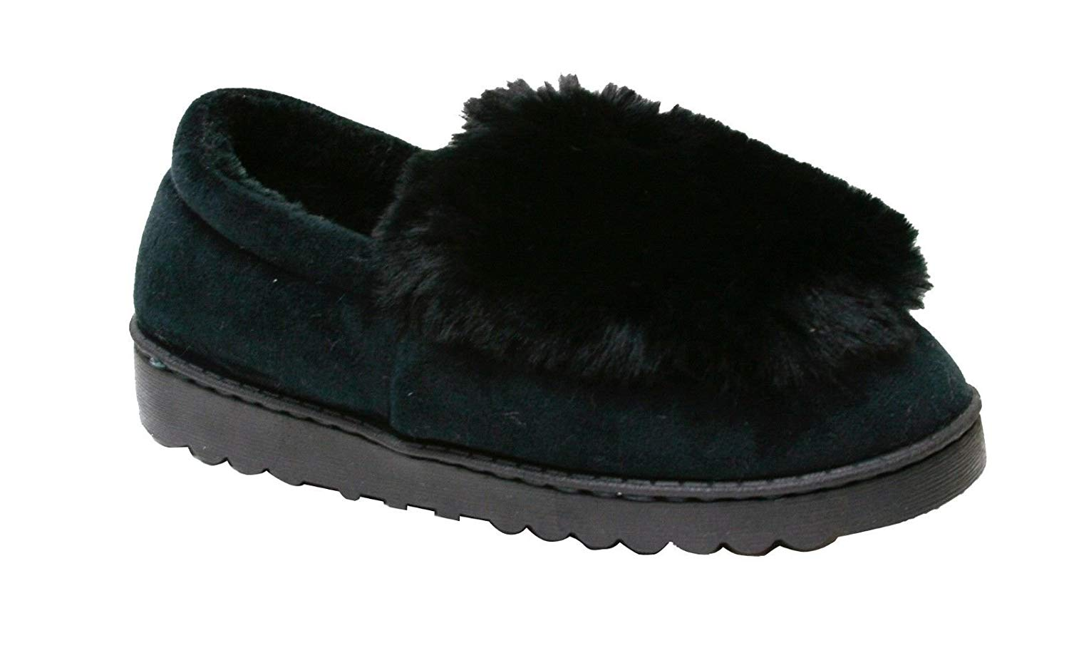 18fa5331b573 Happy Bull Slippers for Womens Moccasin Slip On Indoor Shoes Faux Fur  Bootie (Susy)