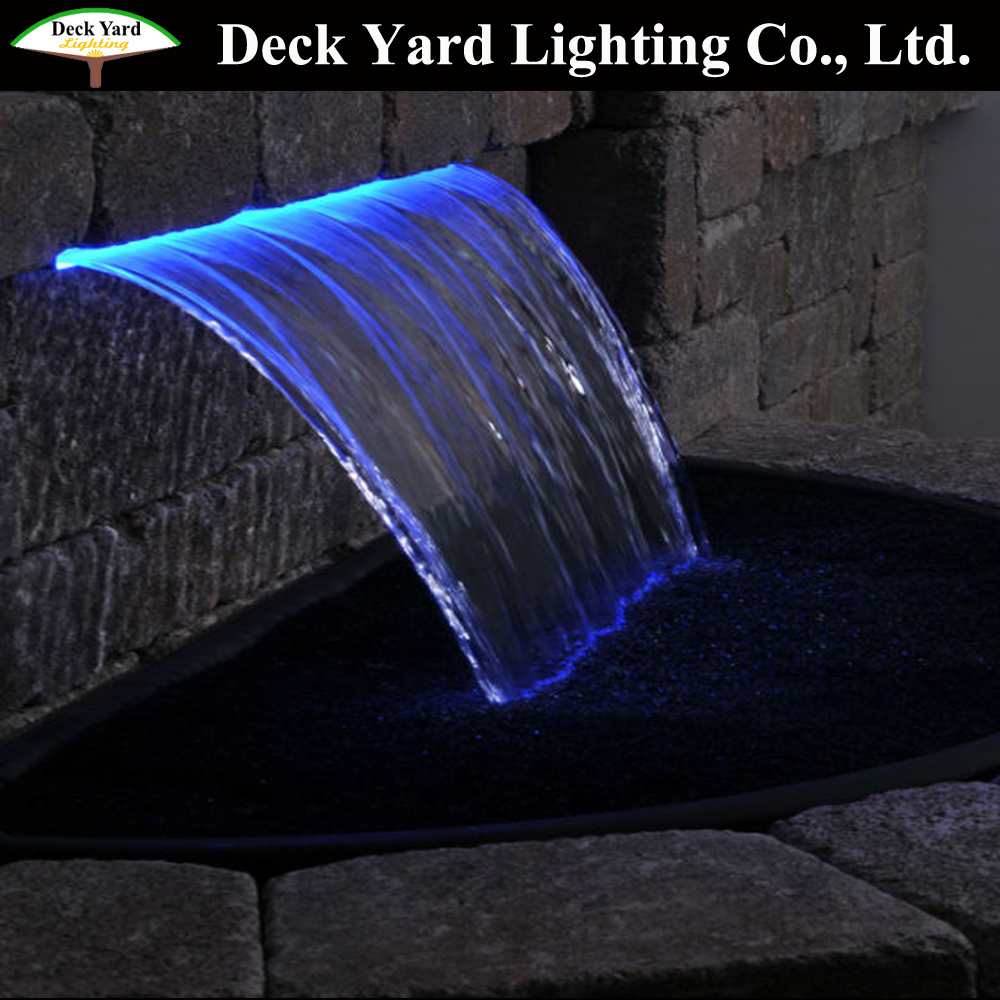 hotel waterfall with high quality stainless steel LED Waterfall and Descent for garden pond decorating