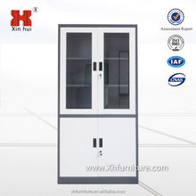 Best selling Chinese manufacturer office metal furniture 2 door filing cabinet steel grey 2 doors glass storage cabinet