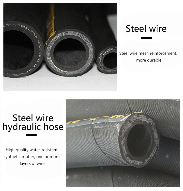 Low Price Steel Wire Reinforced High Pressure Flexible Braided Rubber Hose Pipe/ Hydraulic Rubber Hose