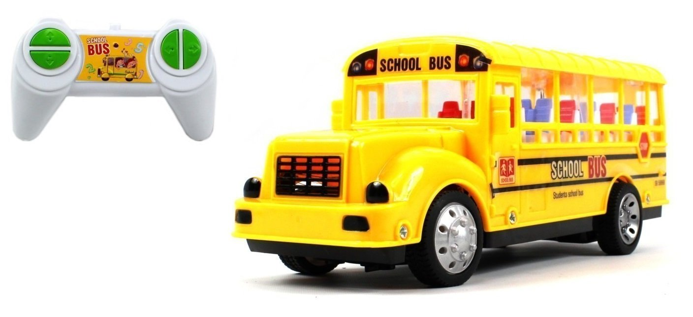 Lvnv Toys@ Student School Bus Electric RC Car 1:18 Scale LED Ready To Run RTR, Plays Sounds & Flashes Lights