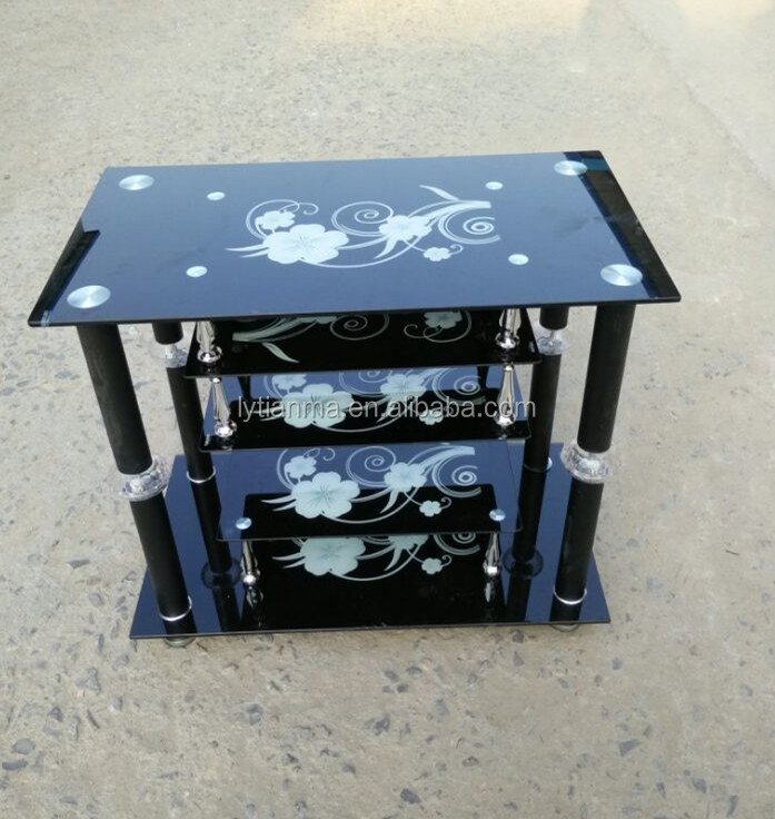 factory directly sale small tempered glass tv table pictures