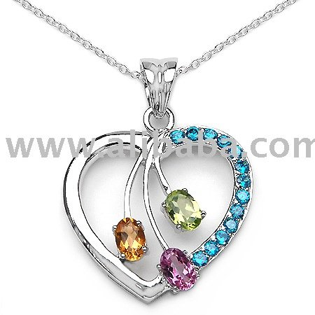 Hot selling pretty heart shape pendant in 925 sterling silver with multi color gemstones! !