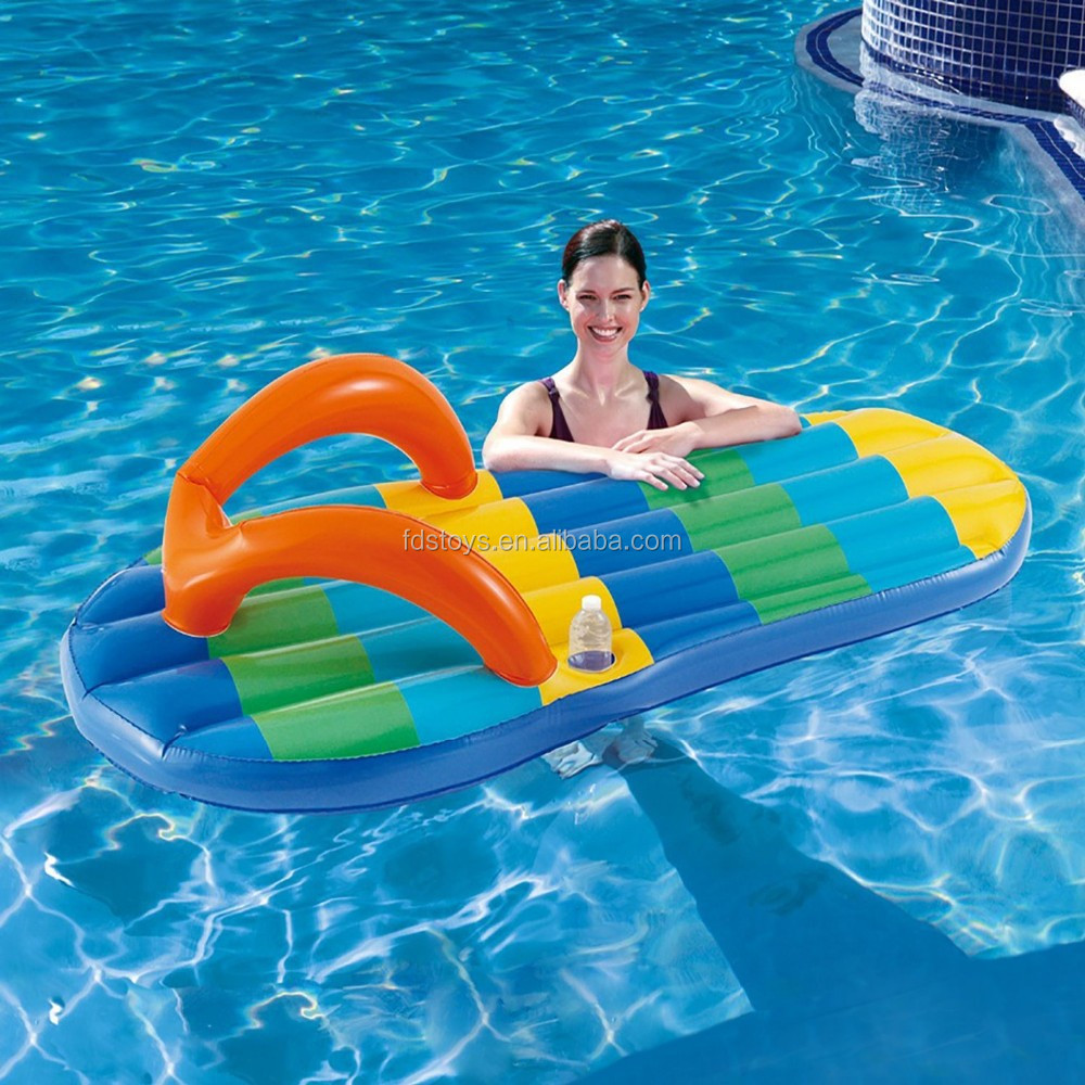 Beach Striped Flip Flop 71-Inch Inflatable Pool Float
