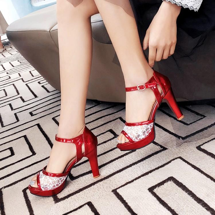 Большие размеры 11, 12, 13, 14, 15; босоножки на высоком каблуке; женская обувь; женская летняя пикантная Прозрачная Кружевная обувь с открытым нос...(Китай)