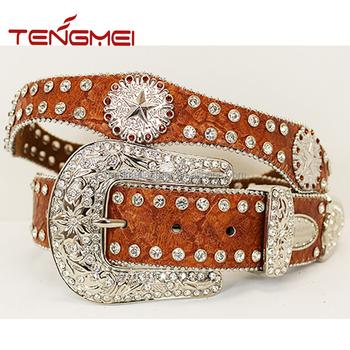 Star Rhinestone Concho Studded Men Genuine Leather Cowboy Western Scalloped Belts