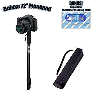 Professional 72 Inch Heavy Duty Monopod With Deluxe Soft Case For The Canon Powershot D10, SD770 IS, SD1200 IS + Exclusive FREE Complimentary Super Deal Micro Fiber Lens Cleaning Cloth