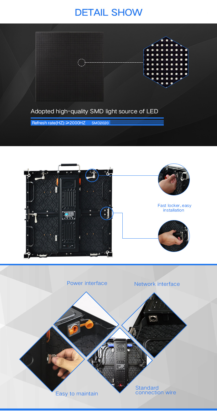 P3.91 high resolution indoor flexible led display/stage led display for event