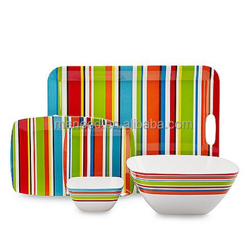 Rainbow stripe square shape break-resistant picnic Melamine dinner set  sc 1 st  Alibaba & Rainbow Stripe Square Shape Break-resistant Picnic Melamine Dinner ...
