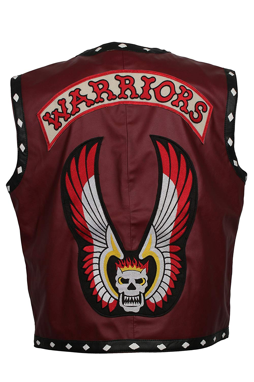 Herts Leather Warrior Style Real Leather HQ Vest In Maroon With White Diamonds Pattern