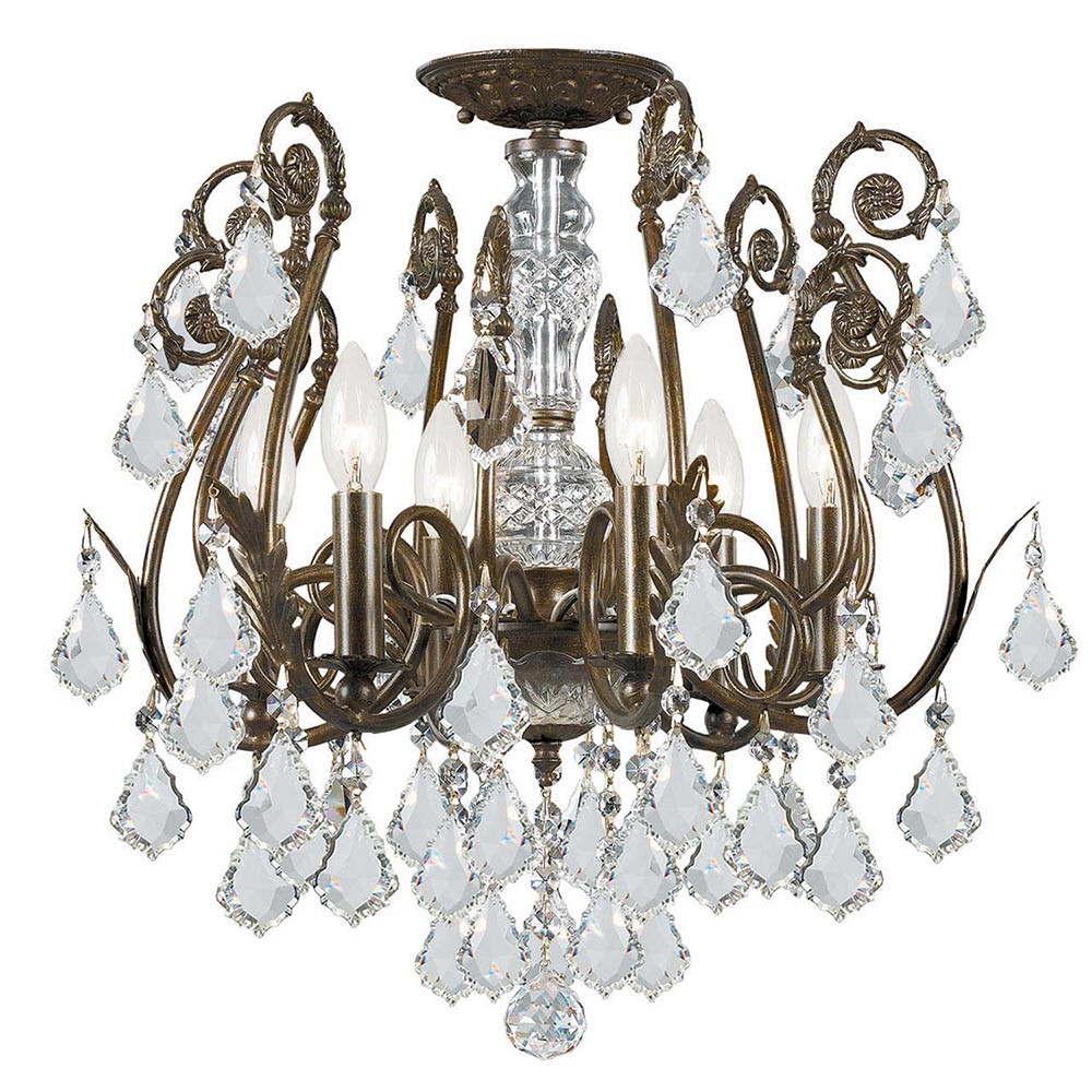 White Crystal Led Chandelier Light With Iron Finish Lamp