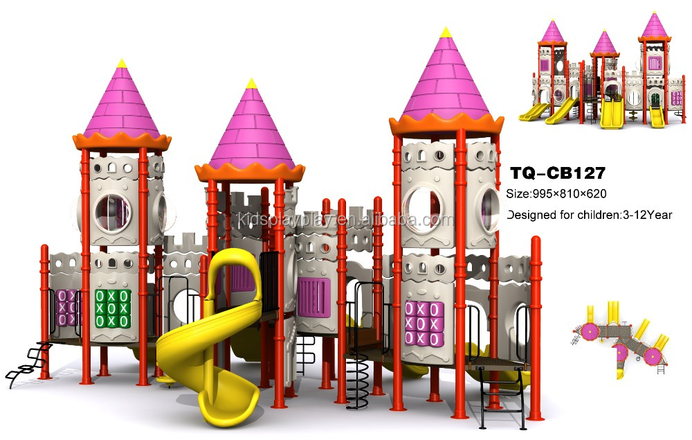 Castle style theme outdoor playground equipment, customized size and theme