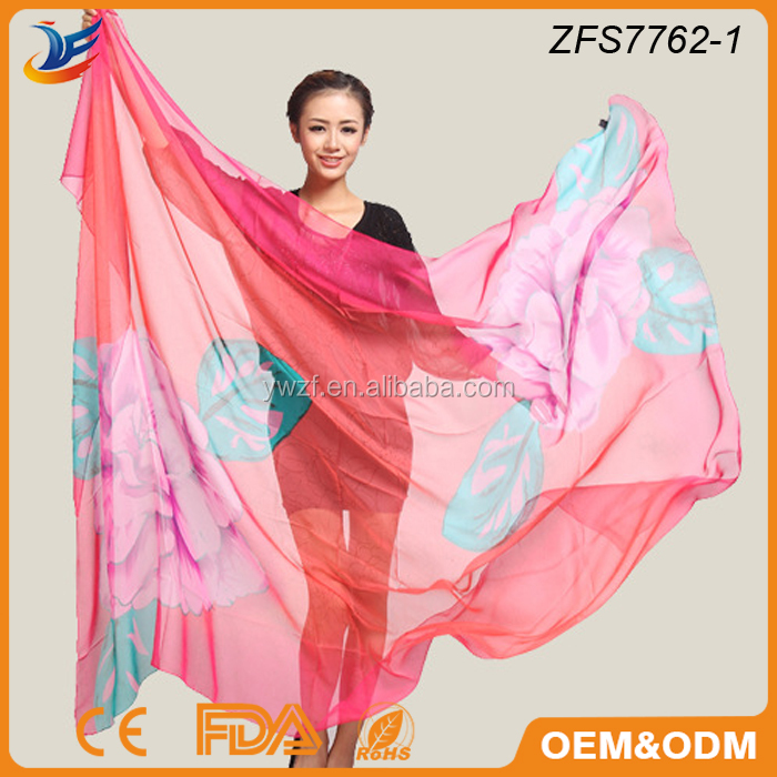 wholesale scarf lady summer trendy printed silk shawl