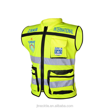 Customize Reflective Garment Zipper Yellow safety vest with pockets