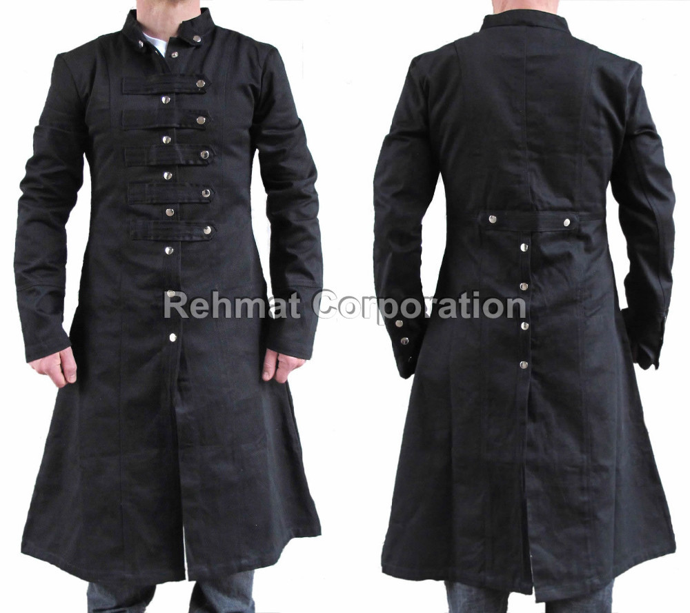 Mens Military Trench Straight Coat Criminal Blacklist Steampunk ...
