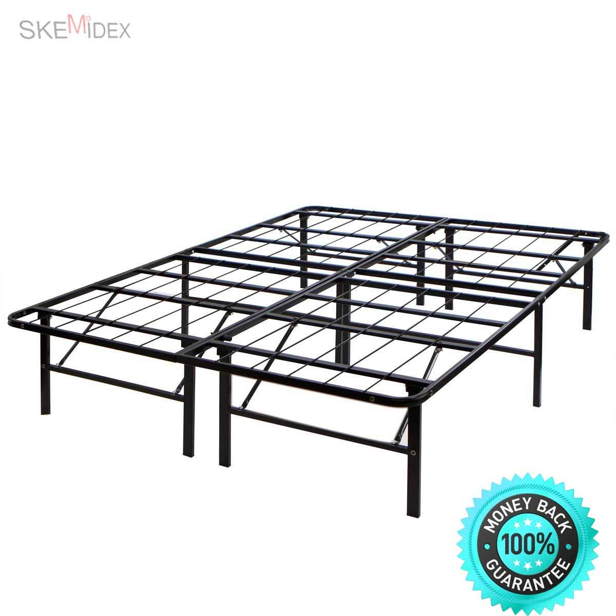 SKEMiDEX---Modern king Size Bi-Fold Folding Platform Metal Bed Frame Mattress Foundation Once builtnyou simply place the mattress on top and you are ready to sleep Eliminates the need for a tradition.