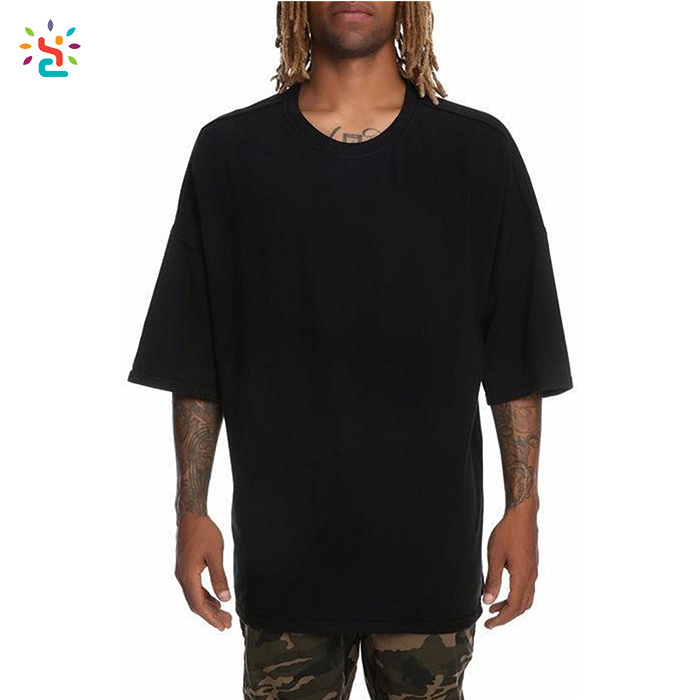 Wholesale drop shoulder t shirt men oversized blank t shirts half sleeve crew neck mens box tee