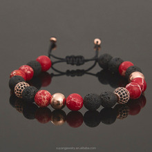 Mens Beaded Bracelet Mens Gift Lava and Red Variscite Beaded Bracelet (MB-0658)