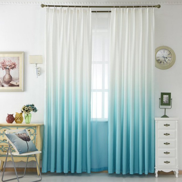 High Grade 5 Gradient Color yellow Blue Gray Pink Green Curtain Modern Tulle Curtains For Living Room Home Decoration