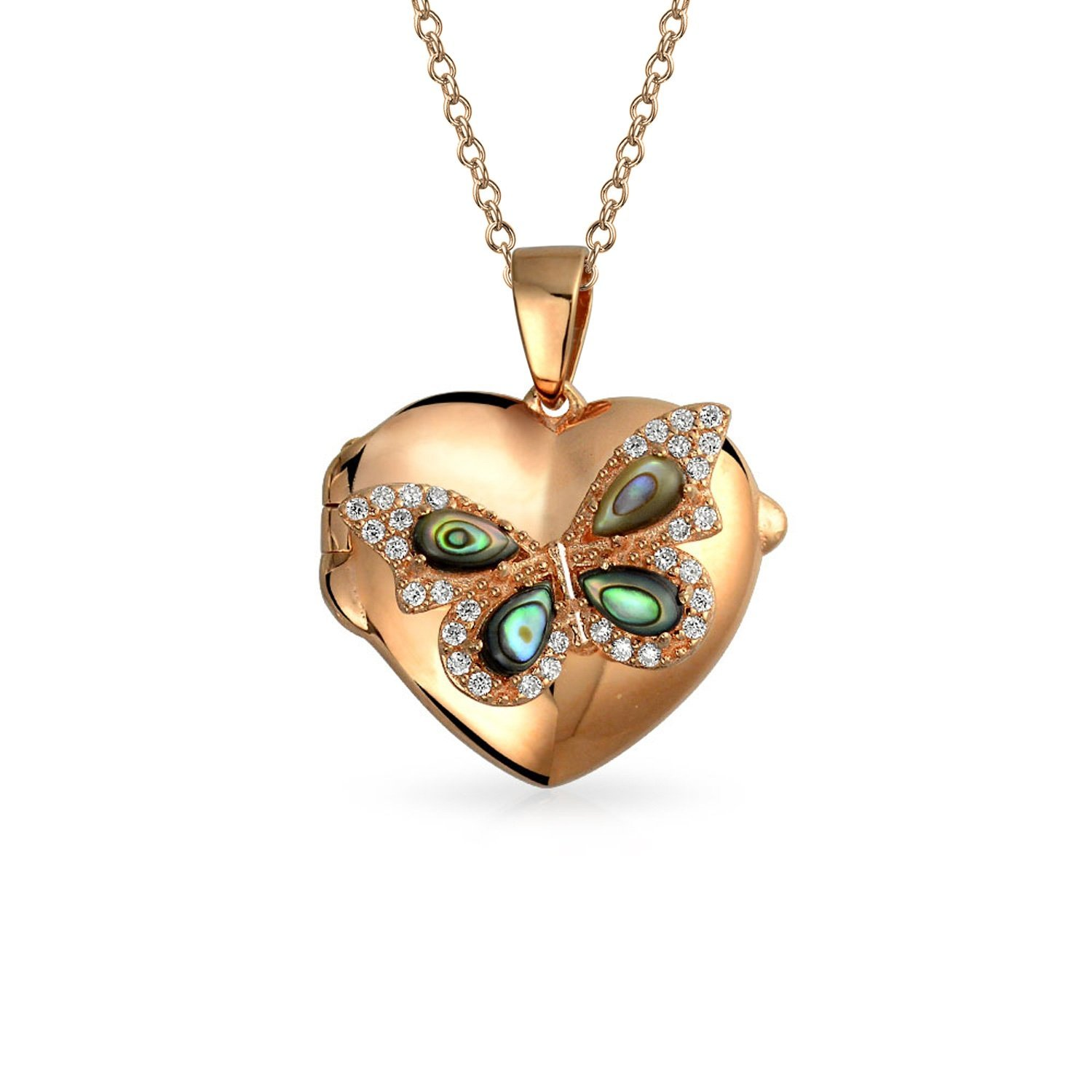 Get Quotations Engravable Abalone Shell Cz Erfly Heart Shpaed Locket Pendant Rose Gold Plated Necklace 18 Inches