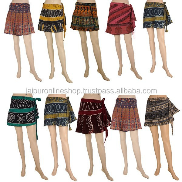 Sanganeri Printed Skirt Cotton Wrap Around Short Skirt Online ...