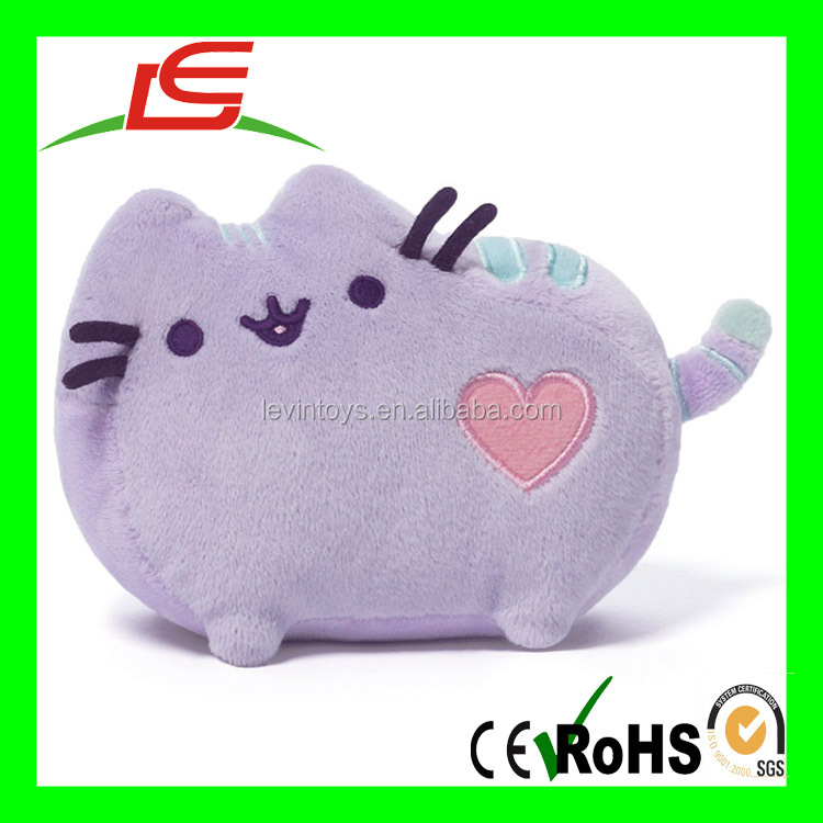 R0926 super soft cute 25cm plush pusheen with heart