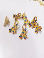 metal autism lapel pin, gold autism Awareness lapel pin, Ribbon Puzzle lapel pin with pin
