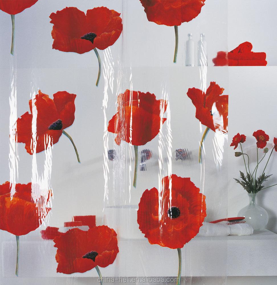 Plastic Pvc Red Flower Shower Curtain