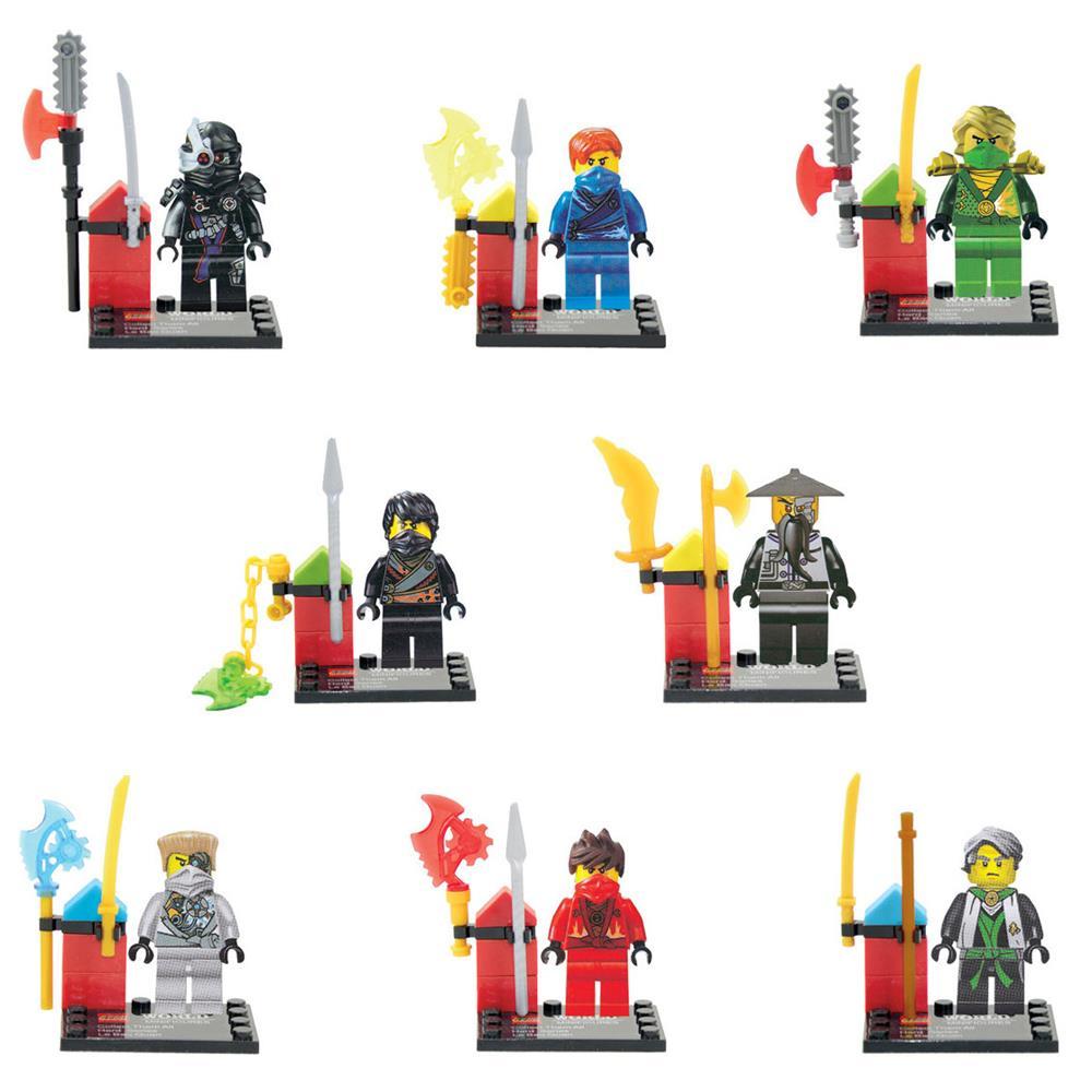 Brand KR 8pcs lot movie Ninja ninjaed Kid Baby Toy Mini Figure Building Blocks Sets Model