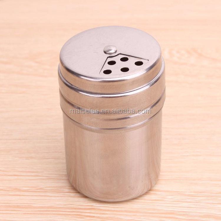 Salero y pimentero ajustable con agujeros de acero inoxidable