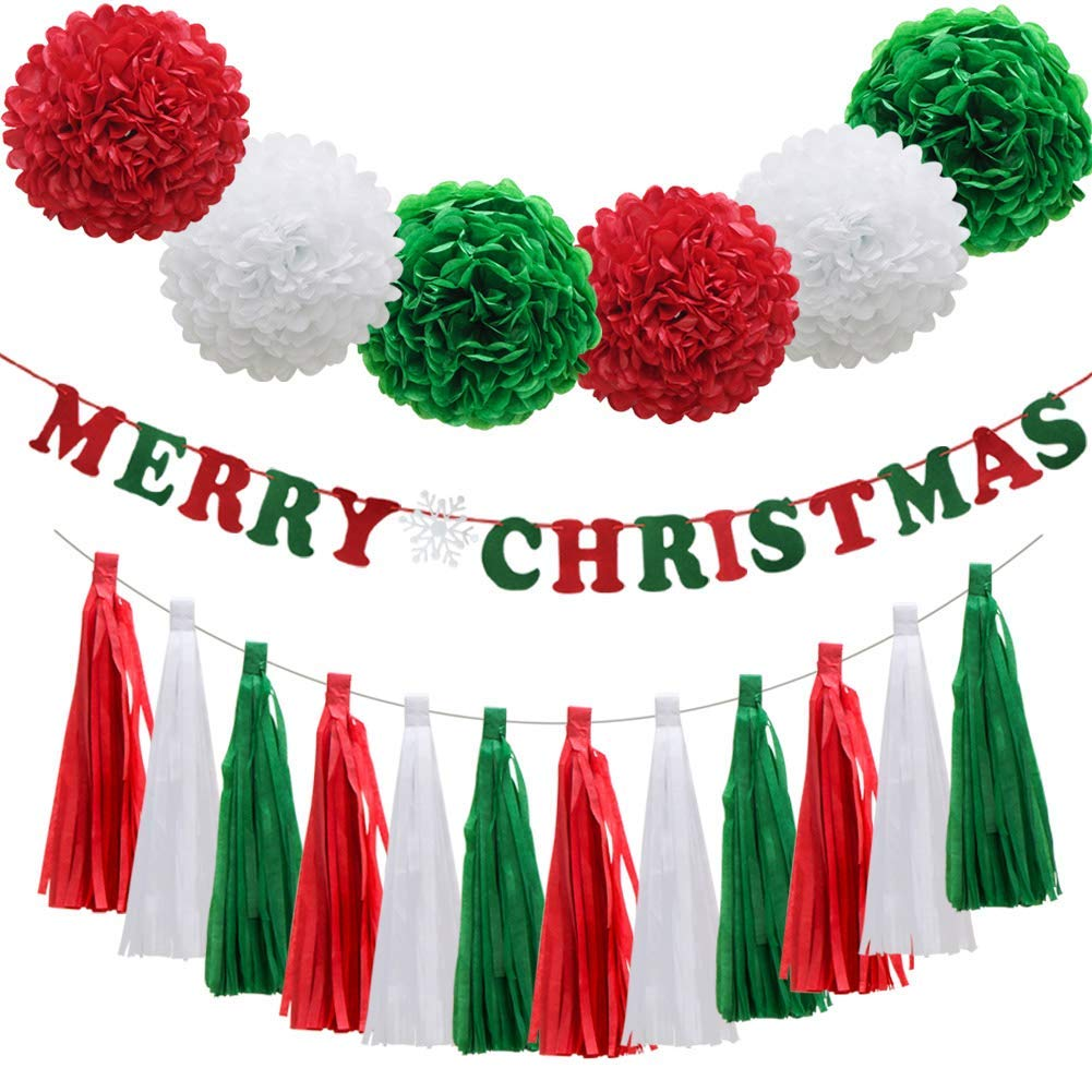 "Christmas Red Green White Party Decorations, ""Merry Christmas"" Banner Paper Flowers Pom Poms Balls Hanging Tassel DIY Party Garland Decor for Birthday Wedding Baby Shower Festival"