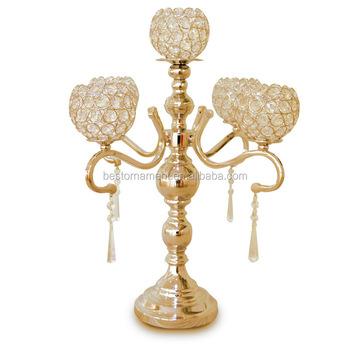 Candelabros Dorados Nuevos De Cristal De 5 Brazos Para Decoración De Mesa De Boda Buy Candelabro De 5 Brazo De Candelabro De Cristalcandelabro De