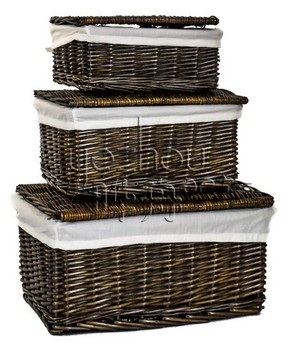 Natural Brown Wicker Lidded Hamper Kitchen Storage Basket With White Lining