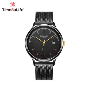 2018 Popular Simple Design Stainless Steel Mesh Band Quartz Movt Date Display Black Watches Men Luxury