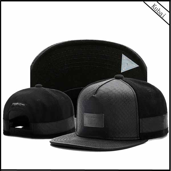 Design Your Own Black Leather Snapback Cap Custom Snakeskin Snapback