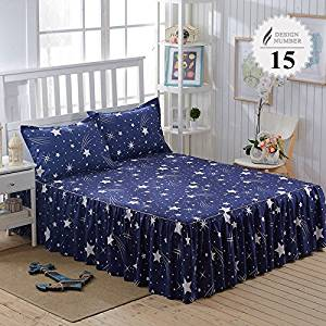 3 Piece Bed Sheet Set Bedding Sets Super King White Bed Sheet,Mattress Cover,Bedspread,Contain 1 Bed Skirt 2 Pillowcase (Full size)