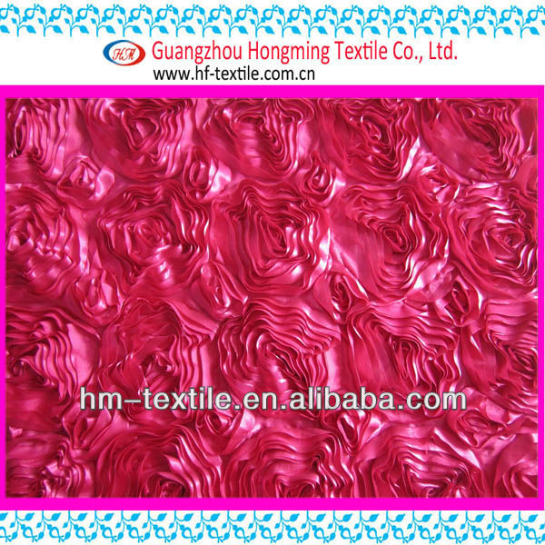 hot rose coiling ribbon embroidery satin fabric for wedding bridal dress-fuchsia