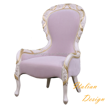 High Quality Solid Wood Carved Italian Style Upholstery Armchair Fascinating White And Gold Pouf