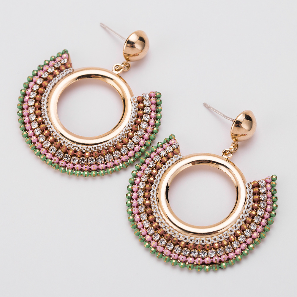Europe and America Exaggerated Hot Selling Diamond Earrings 925 Sterling Silver Needle Jewelry Big Round Earring Stud Factory
