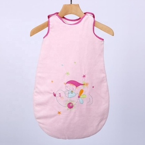 Organic cotton pink baby girl gift set romper dress custom sleeveless plain sleeping bag