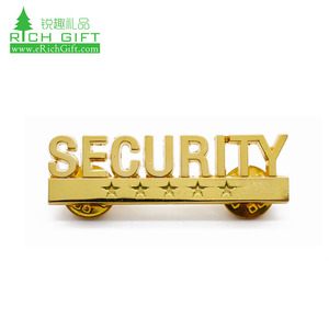 Factory Cheap price Custom metal plated gold magnetic name badge clothing shirts collar alphabet pins security officer lapel pin
