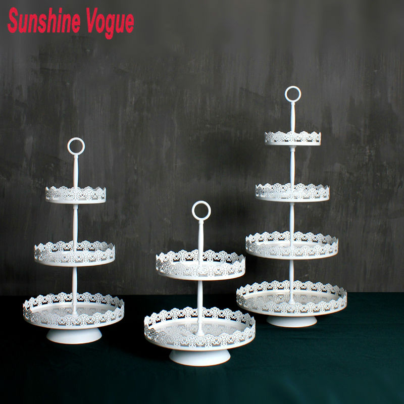 White Metal Cupcake Stand Homeford Round Eyelet Metal