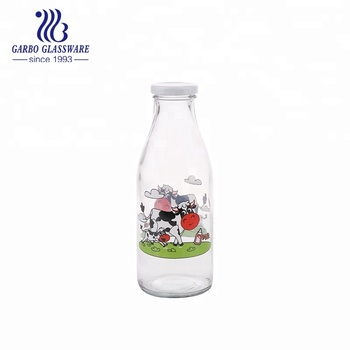 Cute 500ml milk glass bottle with cow decal