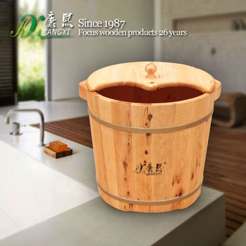Natural Color Of Wooden Foot Spa Tub Solid Wood High