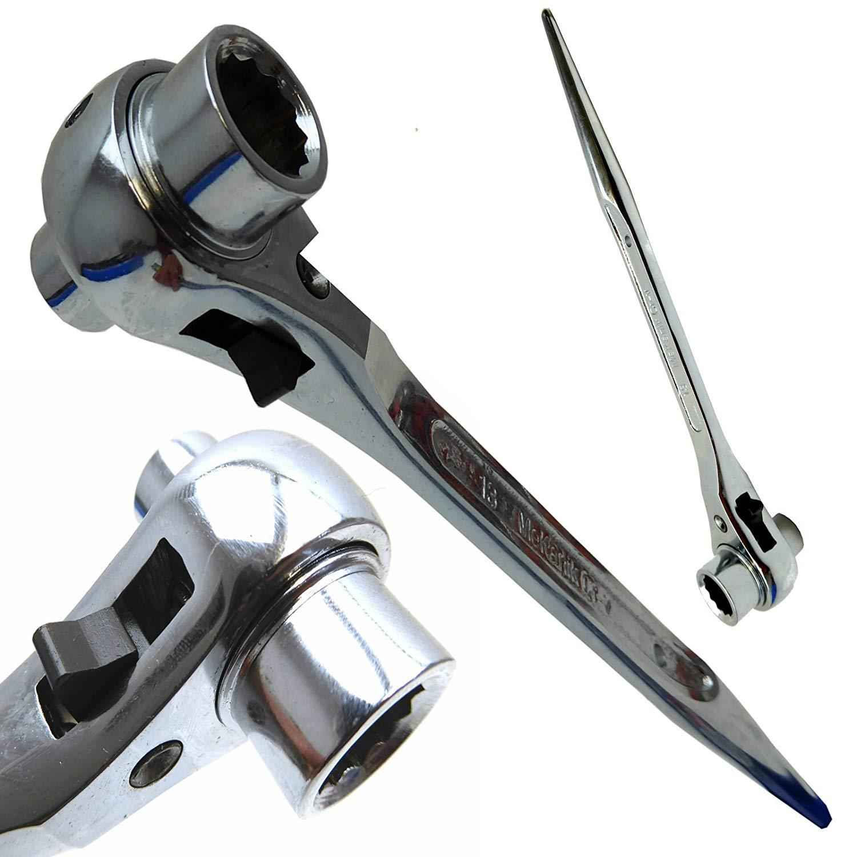 Scaffold Spanner/ Ratchet Podger Spanner/ Steel Erect Spanner 17mm x 19mm black Nickel by UK Tools Direct