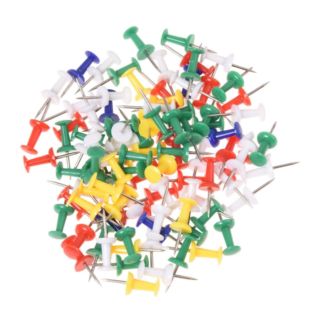 TOOGOO(R) 100pcs Coloured Push Pin Drawing Map Pins Notice Office School