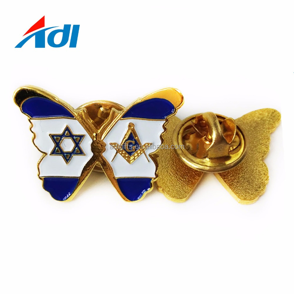 2018 Custom Butterfly Shaped Metal Soft Gold Plating Lapel Pins For Gifts